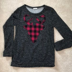 EUC Women's top with Red and Black check Deer (S)